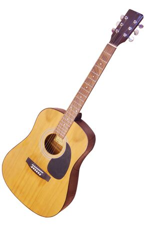 A six string acoustic guitar isolated on a white background Stock Photo