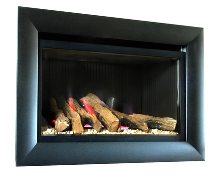 A modern stylish wall mounted direct vented fire shown lit and isolated against a white background.