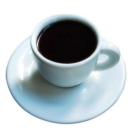 A tiny white cup of strong espresso coffee on a white saucer and all isolated on a white background. Stock Photo