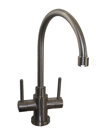 A kitchen mixer tap isolated on a white background.