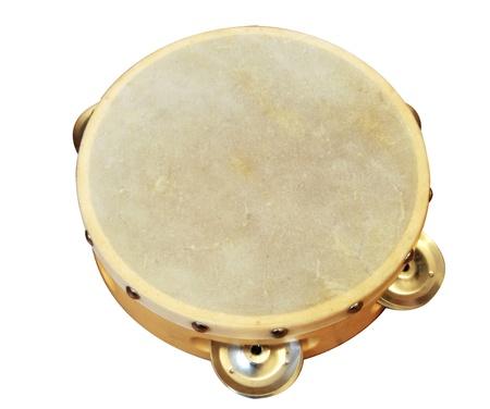 tambourine: Pandereta aislado en un fondo blanco