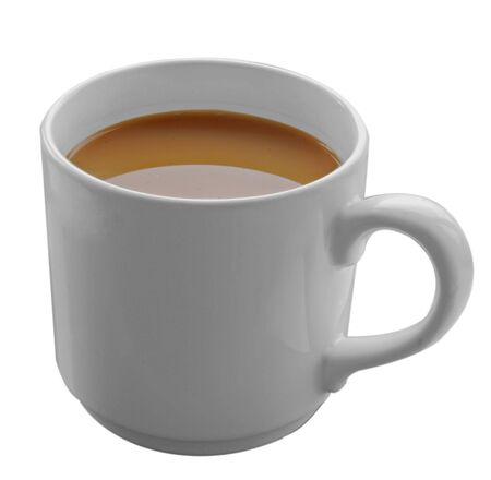 A mug of strong tea isolated on a white background.