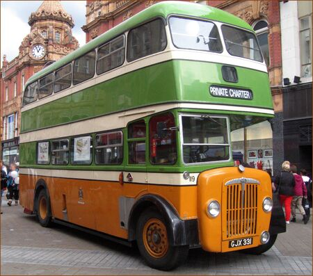 A Classic Double Decker Daimler Bus in Halifax Yorkshire Livery dispalyed at Leeds on Saturday 17th March 2012. Editorial