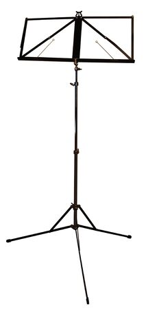 An empty music stand isolated against a white back grround