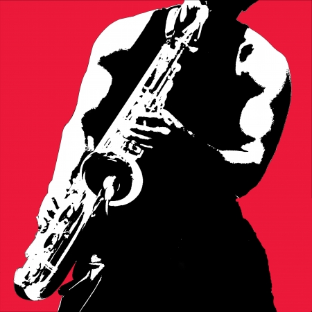 Poster style representation of a saxophonist.