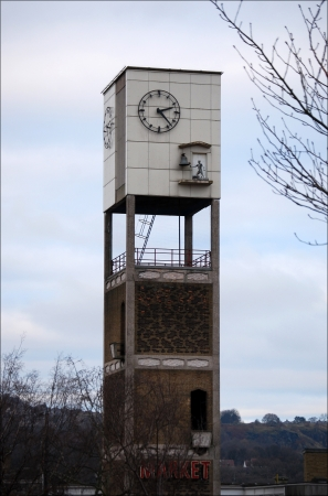 early sixties UK architecture clock tower stands in the Market Square at Shipley in West Yorkshire