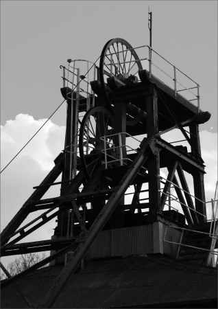 Pit Capo Winding marcia a Caphouse Colliery a Overton, nei pressi di Wakefield, West Yorkshire, Inghilterra, sede del Museo Nazionale Coal Mining per l'Inghilterra.