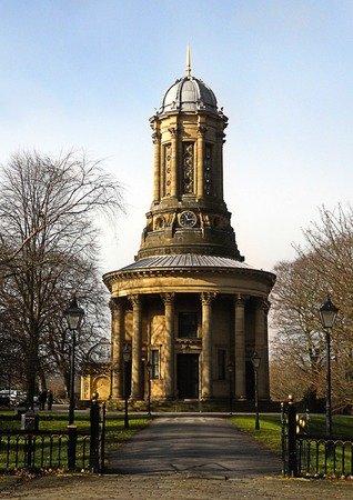 Saltaire United Reformed Church at Saltaire Village built by Sir Titus Salt in 1859. Stock Photo