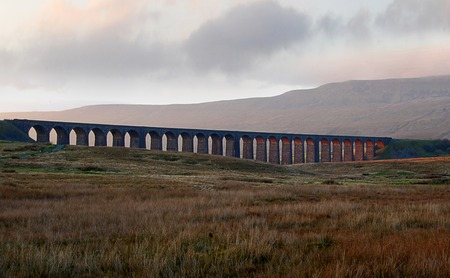 Iconic North Yorkshire railway construction, on the Settle to Carlisle line, photographed late on a November day.