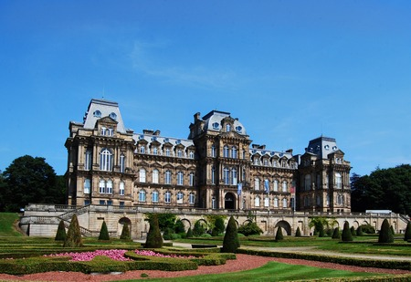 Seen here in July 2014 the Bowes Museum is a building completed in 1892 as a public art gallery and designed in the grand French style. Located at Barnard Castle in Teesdale County Durham it is open to the public.