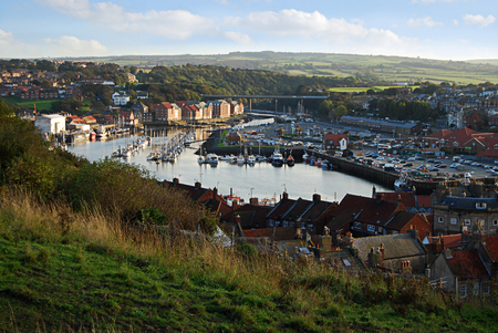 A Wide Angle View of historic Whitby in North Yorkshire, sometime home of Captain Cook.