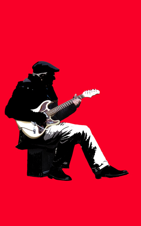 A silhouette representation of a street performer isolated on a red background. Stock Photo
