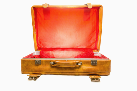55 59 years: Vintage Luggage Open Stock Photo