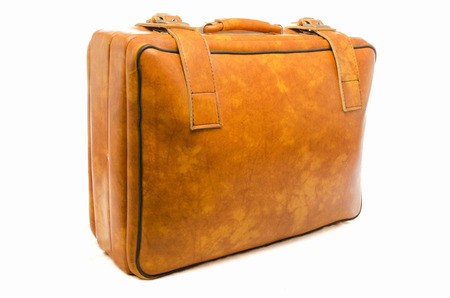 Well -Traveled Vintage Suitcase    Luggage     photo