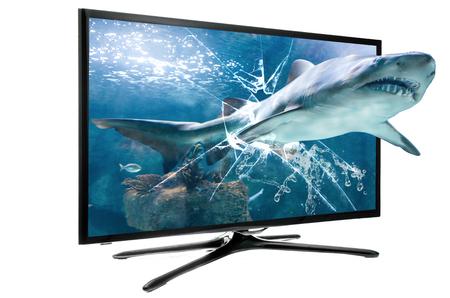 shark teeth: 3D SMART TV LCD Foto de archivo
