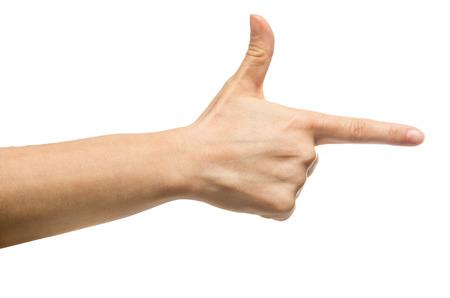 man with gun: Aiming hand sign