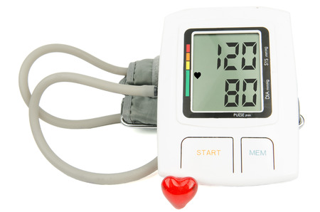 diastolic: normal blood pressure digital monitor Stock Photo