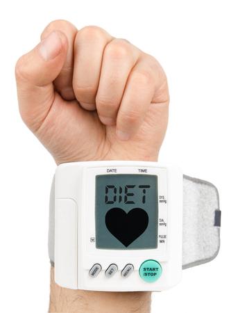 blood pressure monitor: Diet Digital blood pressure monitor Stock Photo