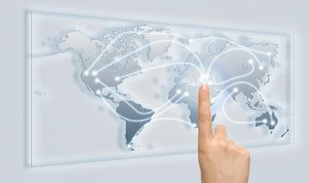 mapa mundi: Touch to Connect the World Foto de archivo