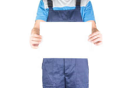 lower section: Worker Showing Blank White paper Stock Photo
