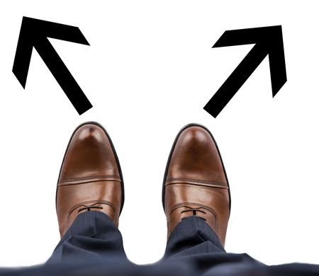forked road: Standing Businessman with Two Choices