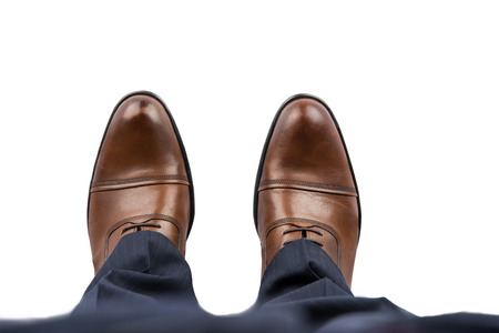 at the foot: Business Man Brown Shoes Top View