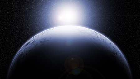 ozone layer: Earth with Rising Sun Stock Photo