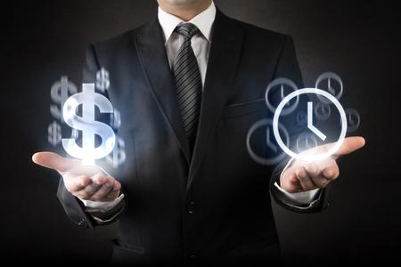 dollaro: Uomo d'affari con tempo � denaro concetto Archivio Fotografico
