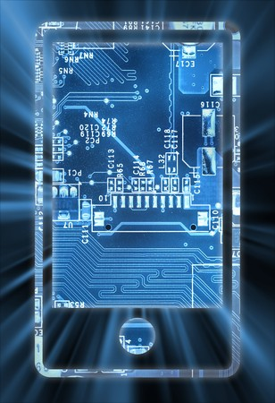 mobile phone screen: Smart phone concept of electronic circuit with lock Stock Photo