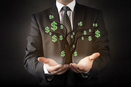 bringing home the bacon: Businessman and money tree