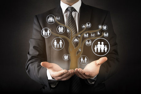 farther: Customer care with family tree abstract concept