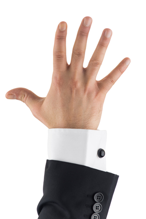 orthographic symbol: Businessman hand isolated, number five
