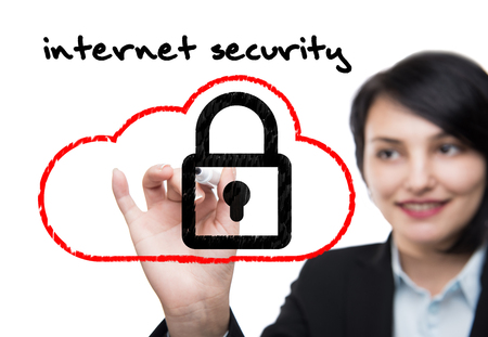 marker pen: Business woman with marker pen drawing of internet security concept Picture