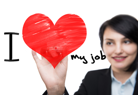 job satisfaction: i love my job Stock Photo