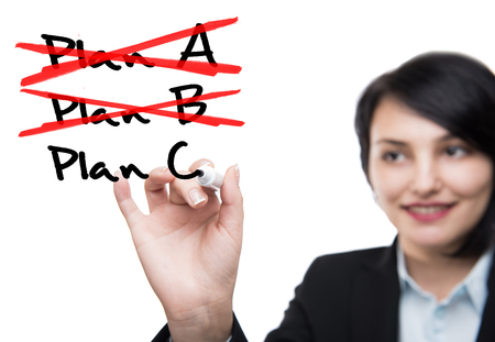 adjusting activity: Business woman and plans Stock Photo
