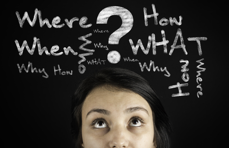 questions: Questions in the young womans head Stock Photo