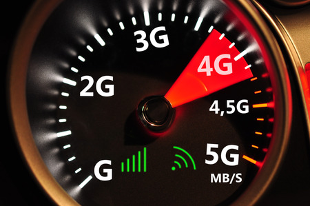 high speed internet: Speedometer and 4G high speed internet