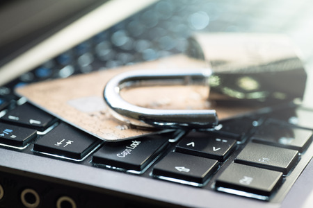 criminal activity: Credit card data security concept Stock Photo