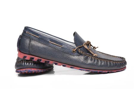 azul marino: Zapatos azul marino de los hombres Foto de archivo