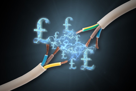 expensive: Expensive electricity costs with pound signs Stock Photo