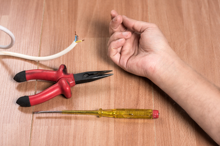 electric shock: Concept of work accident and Electric Shock Stock Photo