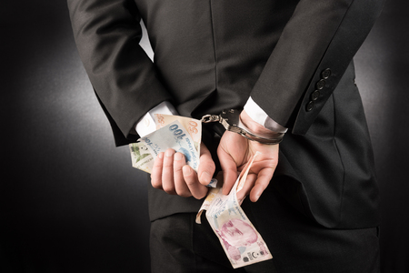 restraining device: Businessman is arrested and handcuffed Turkish lira