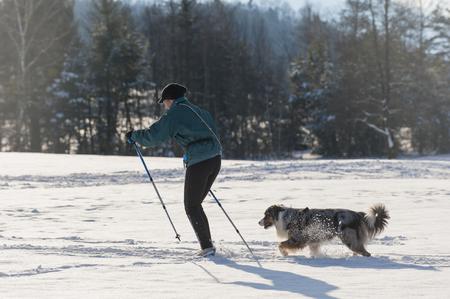 Frau und Hund Skilanglauf in den bayerischen Bergen Standard-Bild - 47309973