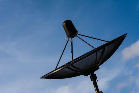 satelite: Satelite dish on Blue Sky  Communication Technology Stock Photo