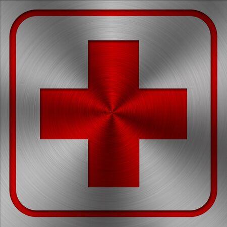 medics: Medical Pharmacy Sign on Metal Texture Stock Photo