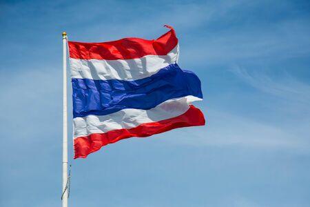 thai flag: Waving Thai flag of Thailand with blue sky background Stock Photo