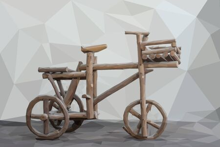 happy mature couple: Wood bicycle Low Poly Style Background Stock Photo