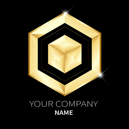 Hexagon vector design template low poly golden style and beading for your business
