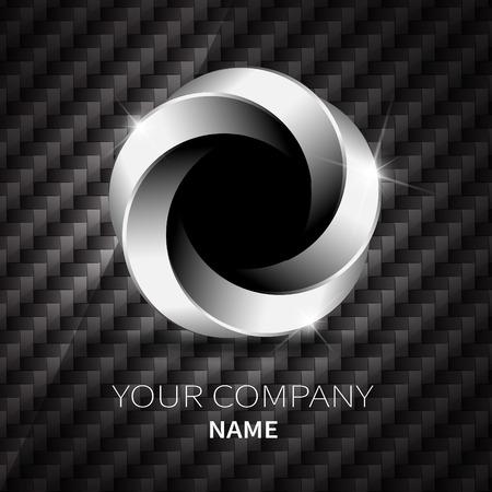 Abstract silver metallic shape logo design twist on black Kevlar. Illusztráció