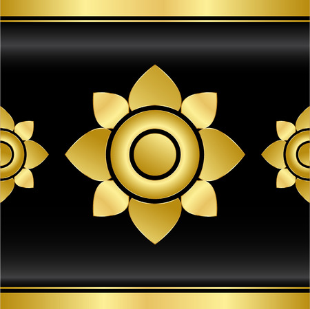 Traditional ornament thai style pattern on black background with gold border